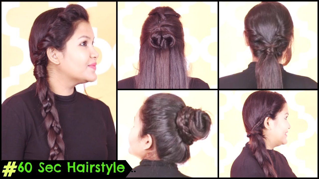 60 Seconds Everyday Hairstyles For School College Office Party