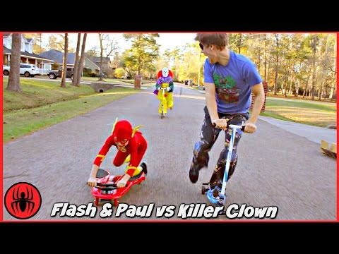 Thumbnail: Scary Killer Clown Chases The Flash & Paul on Fuzion Scooters Real Life Movie Comics SuperHero Kids