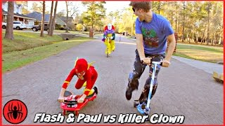 Scary Killer Clown Chases The Flash & Paul on Fuzion Scooters Real Life Movie Comics SuperHero Kids