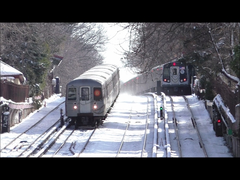 NYC Subway HD 60fps: Snowy Day Along The BMT Brighton Line (2/10/17)
