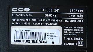 Conserto da TV CCE LED24TV - LED vermelho acende e apaga - Gravado com a Navcity NG-100