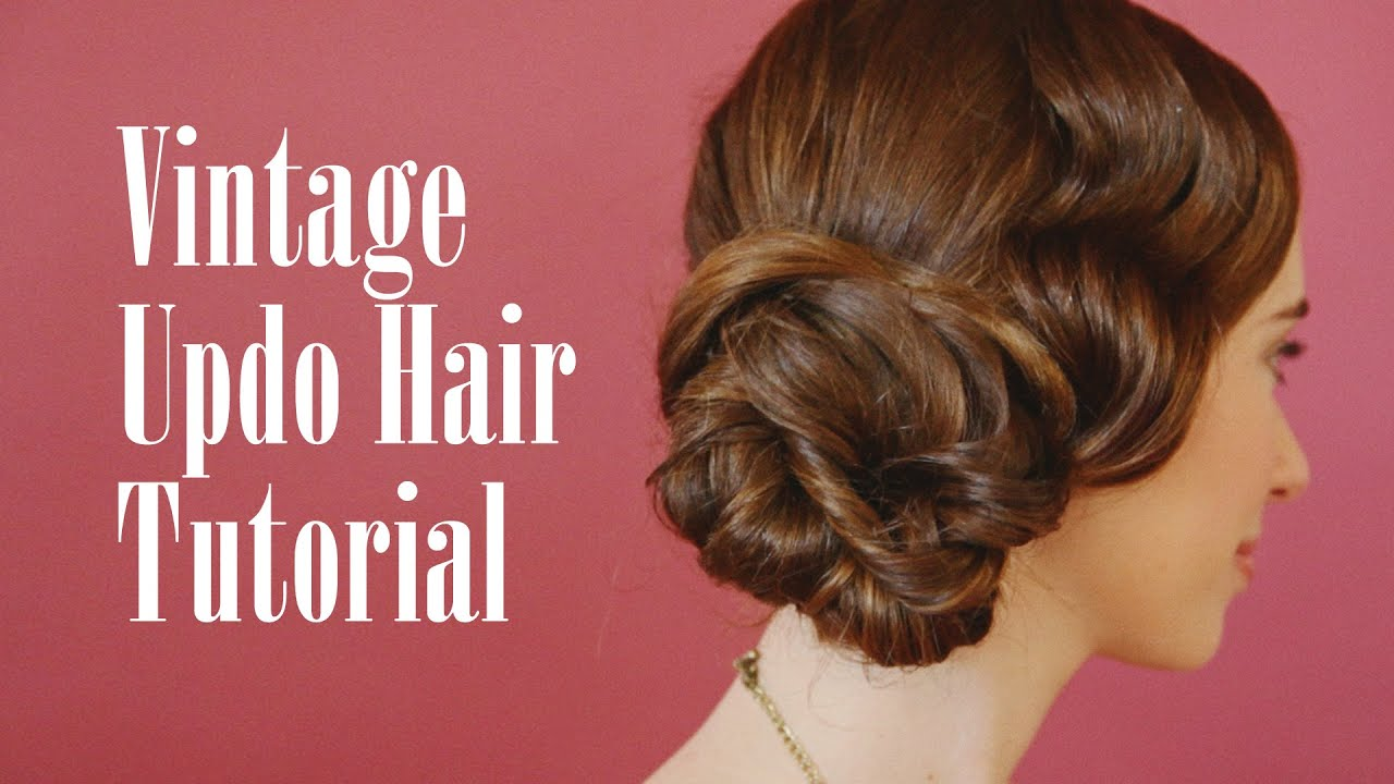 Vintage Updo Hair Tutorial - YouTube
