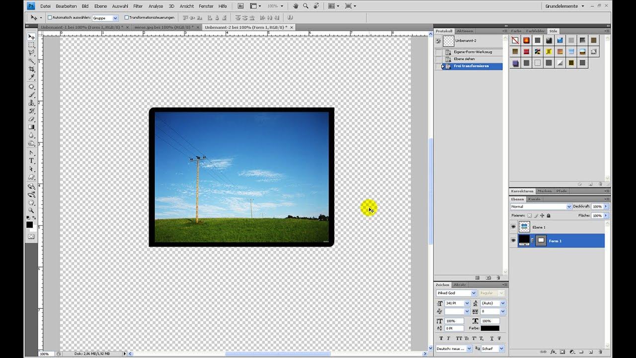 Rechteck Mit 2 Runden Und 2 Eckigen Kanten Erstellen Photoshop