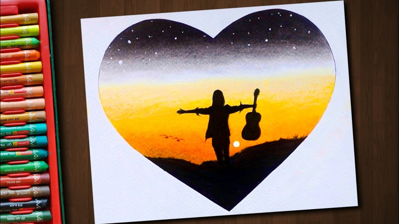 A Girl with Guitar / Drawing with Oil Pastels / Step by Step