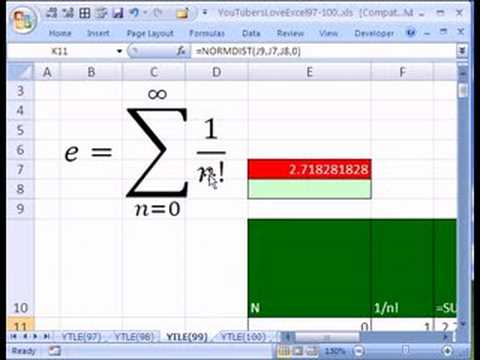 Ytle99 The Number E In Excel Youtube