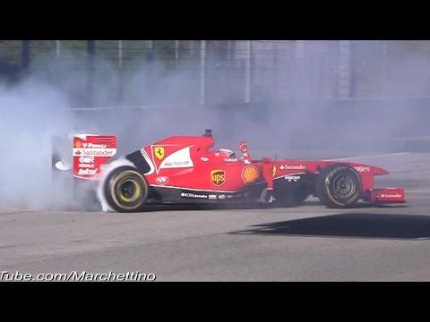Formula 1 Show! Ferrari F1 Pits, Donuts & Accelerations