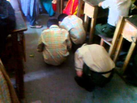 Children are acting as cocks at school During Punishment
