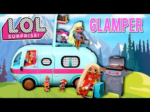LOL OMG Dolls Excited for Their New Glamper - Camper RV Toy With Pool
