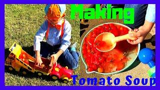 Blippi's fan-William n his farm truck/dump truck making tomato soup