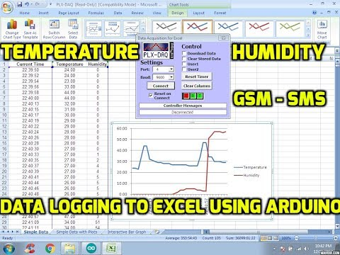 Temperature & Humidity Sensor Data Logging to Excel Using Arduino - GSM - SMS Alert