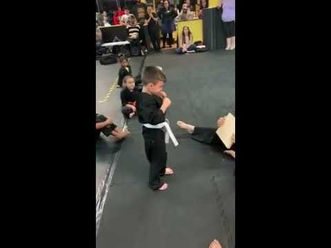 The Dave Ryan Show - A Little Kid Tries to Break a Board in Karate -Finally,He DOES!