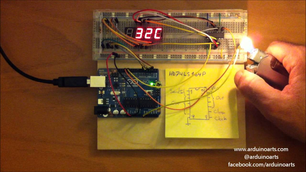 Tutorials with Arduino: Digital thermometer #arduino