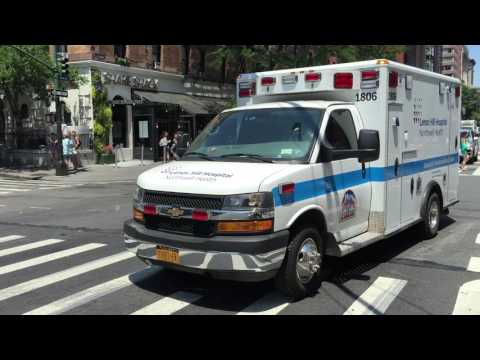 LENOX HILL HOSPITAL NORTHWELL HEALTH EMS AMBULANCE RESPONDING ON COLUMBUS AVENUE IN MANHATTAN, NYC.
