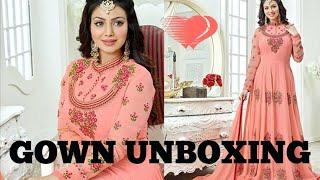 Unboxing||amazon georgette dress gown unboxing||amazon dress review