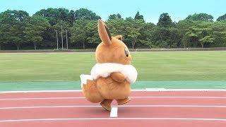 【公式】イーブイとピカチュウがガチンコ対決!勝つのはどっち?走り幅跳び編