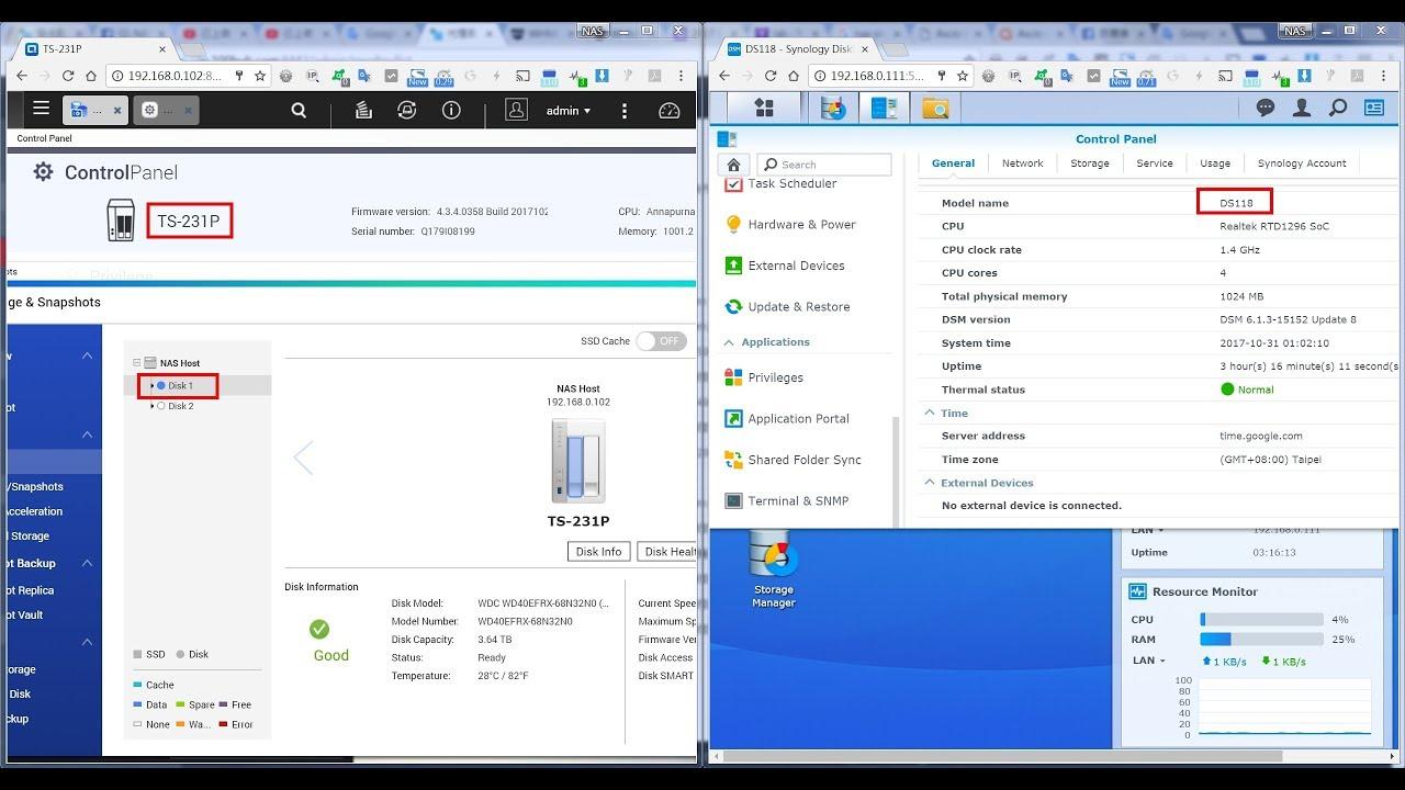 QNAP TS-231P(TS-131P) vs Synology DS118 - Create thumbnails Test