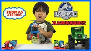 Ryan plays with Dinosaur Toys and Thomas & Friends