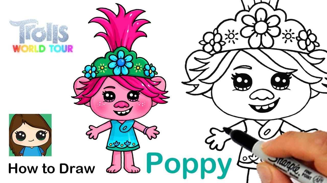 How To Draw Queen Poppy Trolls World Tour Kidztube