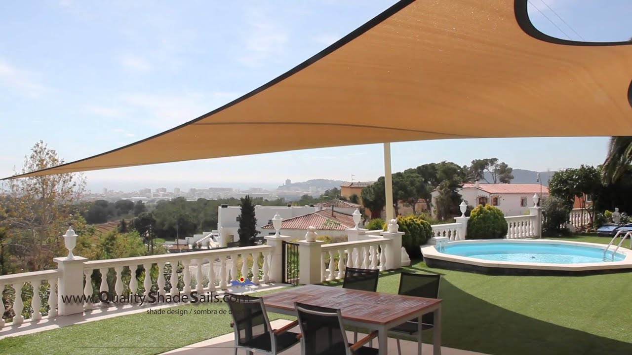 installation of a quality shade sail by shade design costa brava