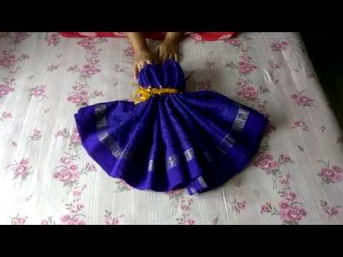How To Make Women Dress Using A Saree Wedding Tray Decoration YouTube Mesmerizing Indian Wedding Tray Decoration