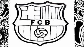 Como dibujar el escudo del Barcelona | how to draw barcelona logo
