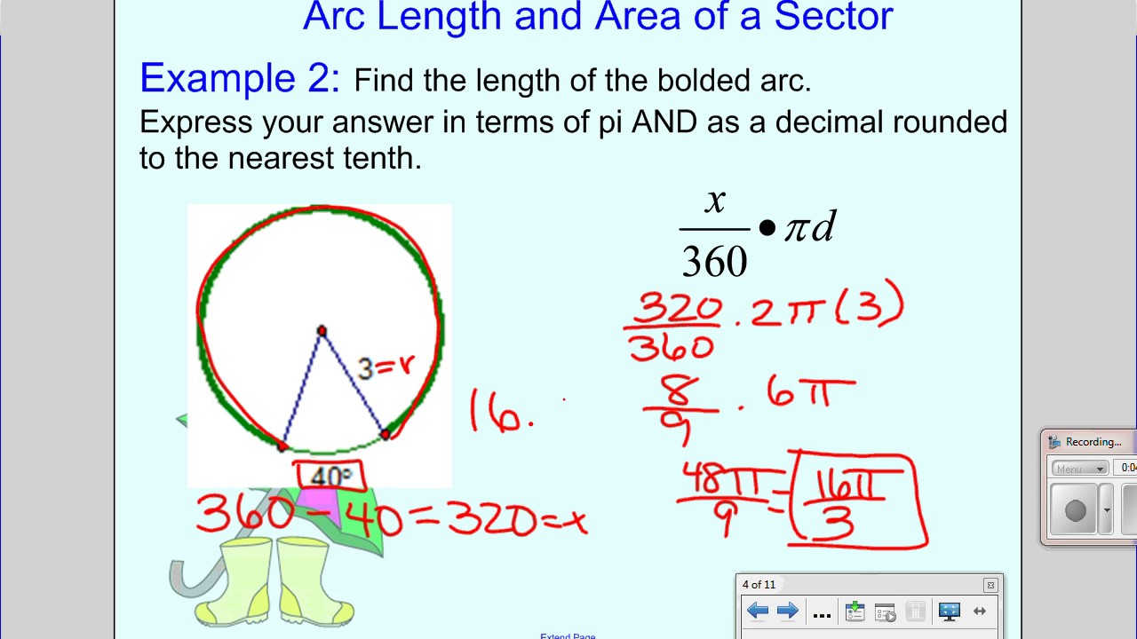 Arc Length And Sector Area Youtube