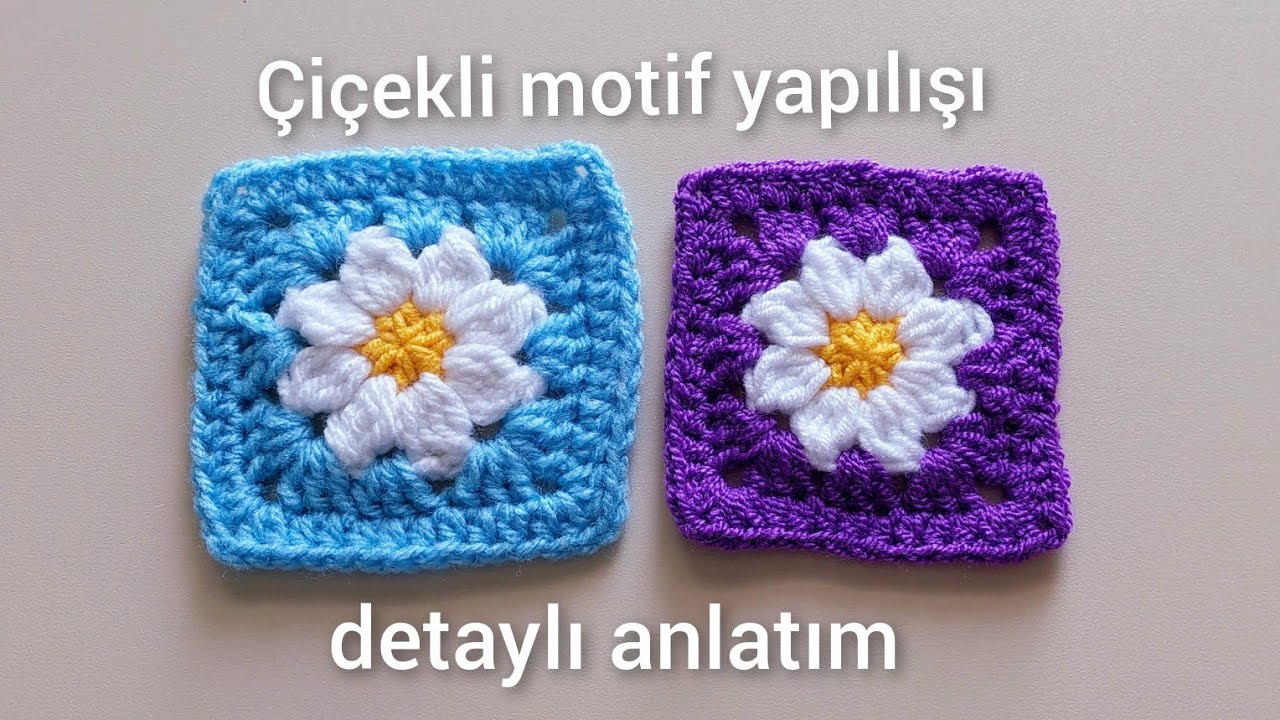 Çiçekli Kvadrat Motif toxuma qaydası/Tığ işi Çiçekli Kare Motif yapımı/Crochet Motif/Motivo de tejer