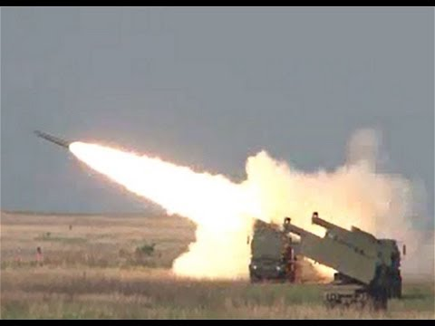 GMLRS Guided Multiple Launch Rocket system launched from HIMARS mobile artillery launcher