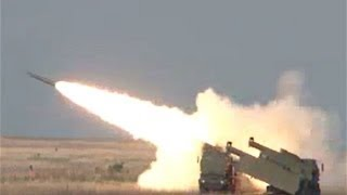 GMLRS Guided Multiple Launch Rocket system launched from HIMARS mobile artillery launcher thumbnail