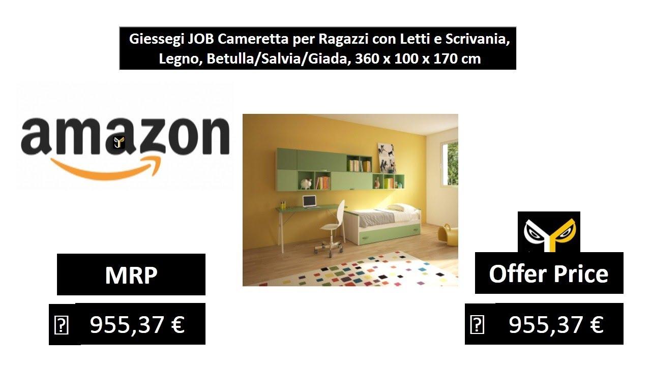 Camerette Ragazzi In Legno.Giessegi Job Cameretta Per Ragazzi Con Letti E Scrivania Legno