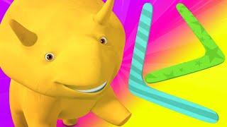 Lerne mit Dino - Dino der Dinosaurier lernt Farben und Zahlen mit Bumerangs und Ballons