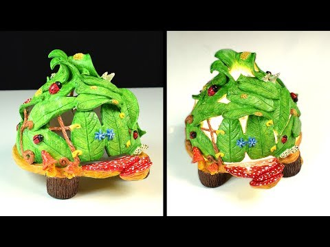 DIY Fairy House Leaves Lamp | Paper Clay Tutorial