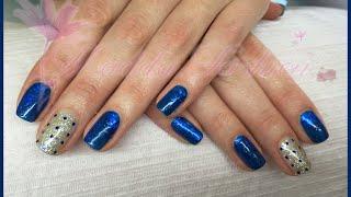 Nail art - monocolore blu e glitter con pailettes e foil (smalto, ricostruzione) Thumbnail