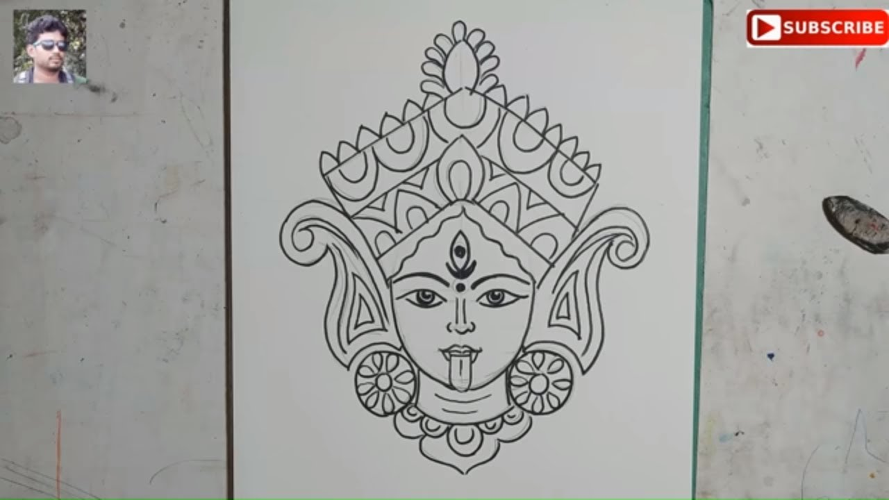 Very Easy Maa Kali Face Drawing Step By Step