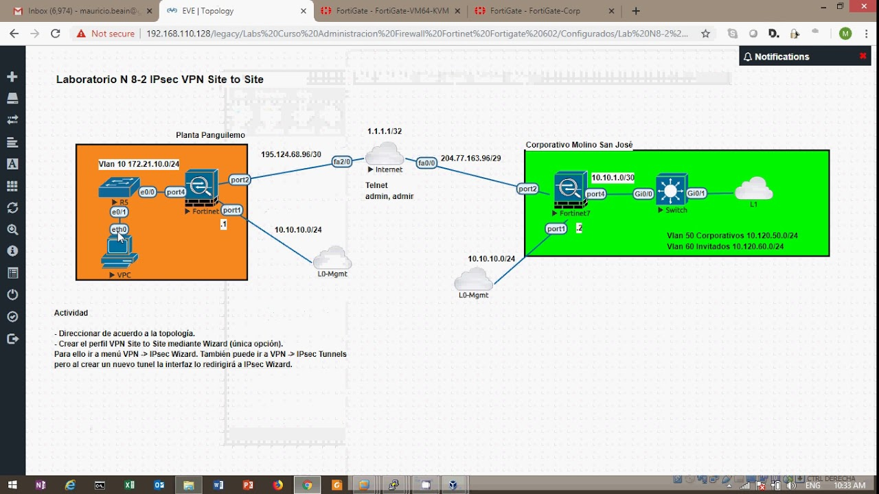 Preview Lab Fortinet Fortigate 6 0 3 Site to Site IPsec VPN on EVE-ng  (spanish)