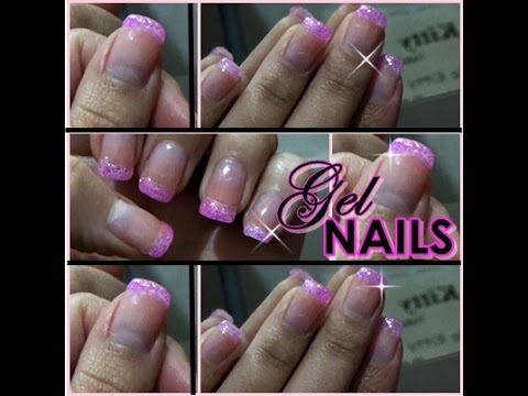 uas de gel decorado rosa glitter nails gel with glitter