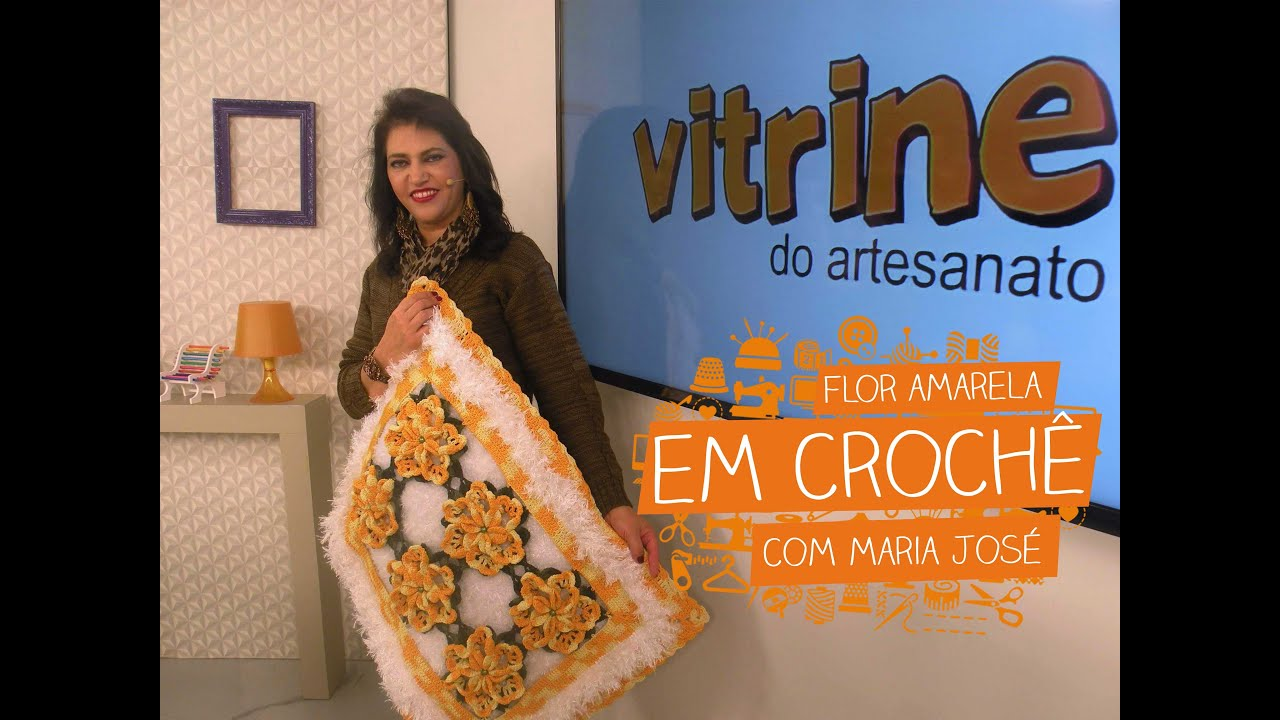Loja Artesanato Rio De Janeiro ~ Flor Amarela em Croch u00ea com Maria José Vitrine do