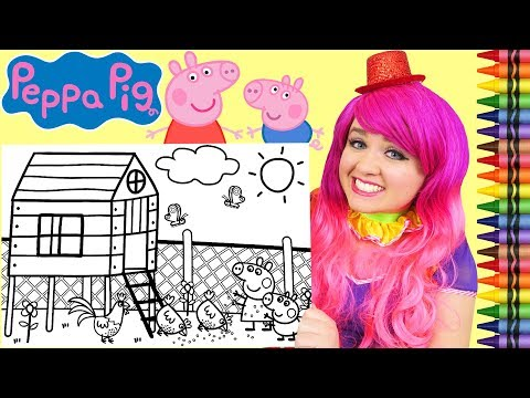Coloring Peppa Pig & George Chicken Farm JUMBO Coloring Page Crayola Crayons | KiMMi THE CLOWN