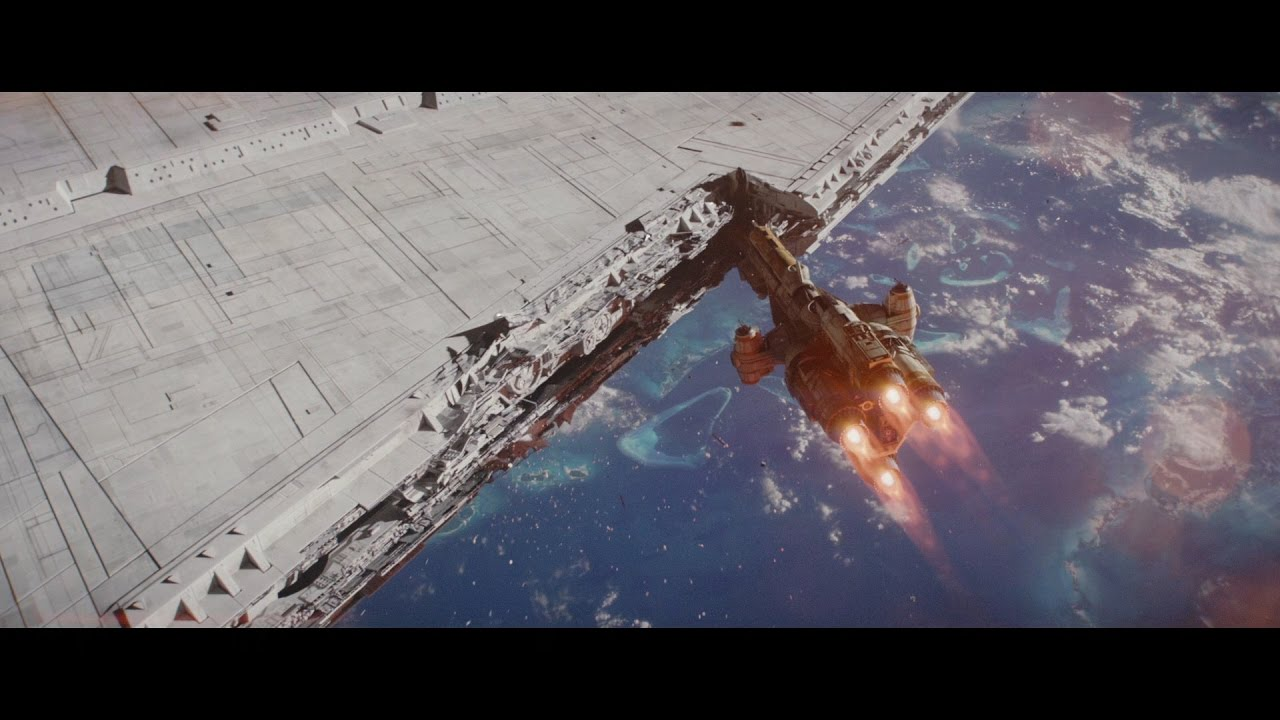 Rogue One Hammerhead Corvette Attack With Music By John Williams Youtube
