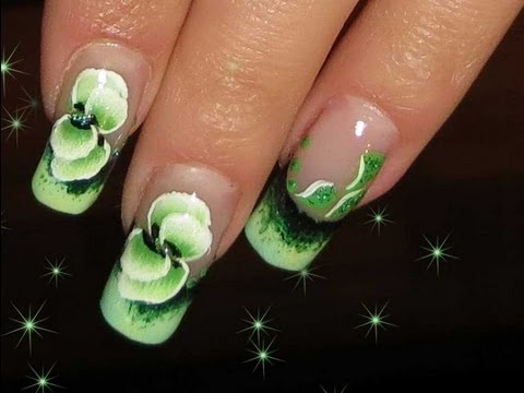 One stroke NAIL ART TECHNIQUE.Green nail design - One Stroke NAIL ART TECHNIQUE.Green Nail Design - YouTube