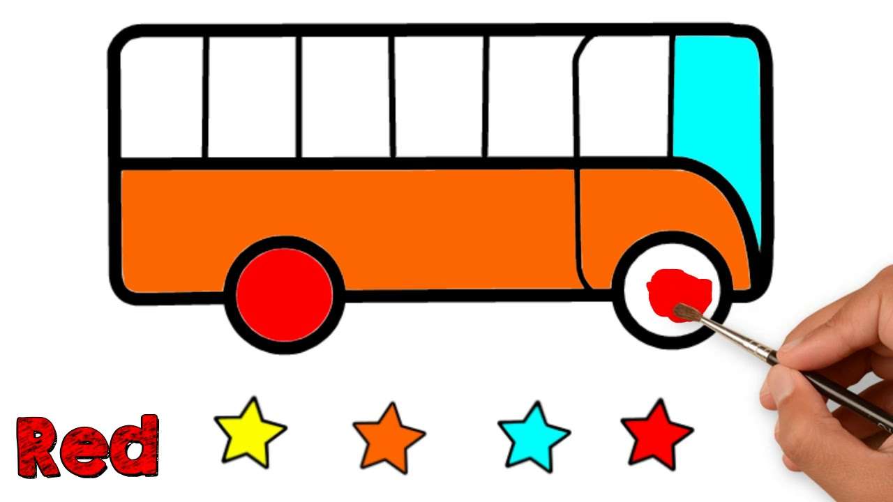 How To Paint A Bus For Kids Easy Drawing Simple Bus Colouring Bus