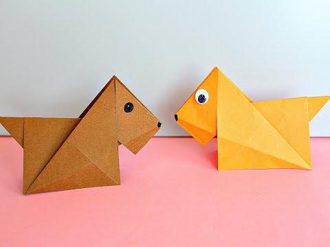 Оригами СОБАКА из бумаги. PERRO de Papel Origami. DIY Easy Paper DOG
