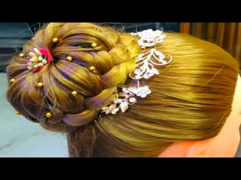 Easy bridal hairstyle/party hairstyle/bun hairstyle for long hair/girls hairstyles thumbnail
