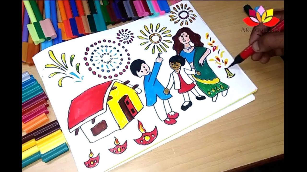 How to Draw Diwali Coloring Pages for Kids - YouTube