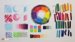 """Курс рисования """"Сухая пастель"""" Начинающие. Урок 1-1. Основные техники пастели. Цветовой круг."""