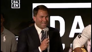 OUCH! - EDDIE HEARN TAKES SWIPE AT DEONTAY WILDER DURING NEW YORK PRESS CONFERENCE / JOSHUA-POVETKIN