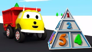 Building a Pyramid: learn numbers with Ethan the Dump Truck | Educational cartoon for children