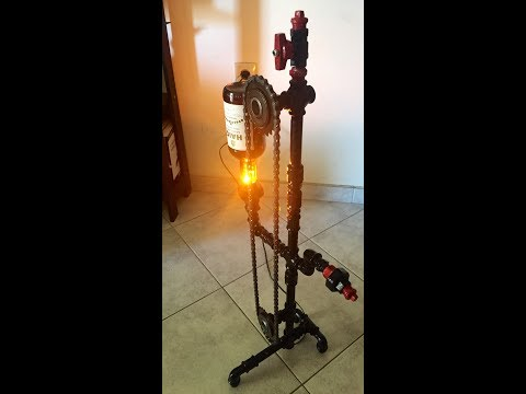 Industrial Steampunk Bottle Metal Lamp With Working Gears And Bike Chain