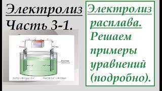 Часть 3-1. Электролиз расплава. Решаем примеры уравнений (подробно).