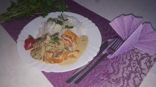 Мясо с болгарским перцем в сливочном соусе